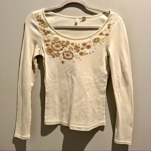 Anthro Moth Floral Embroidery Sequin Cream Shirt